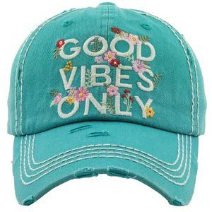 Good Vibes Only Turquoise Distressed Baseball Hat